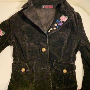 Black Floral Corduroy jacket